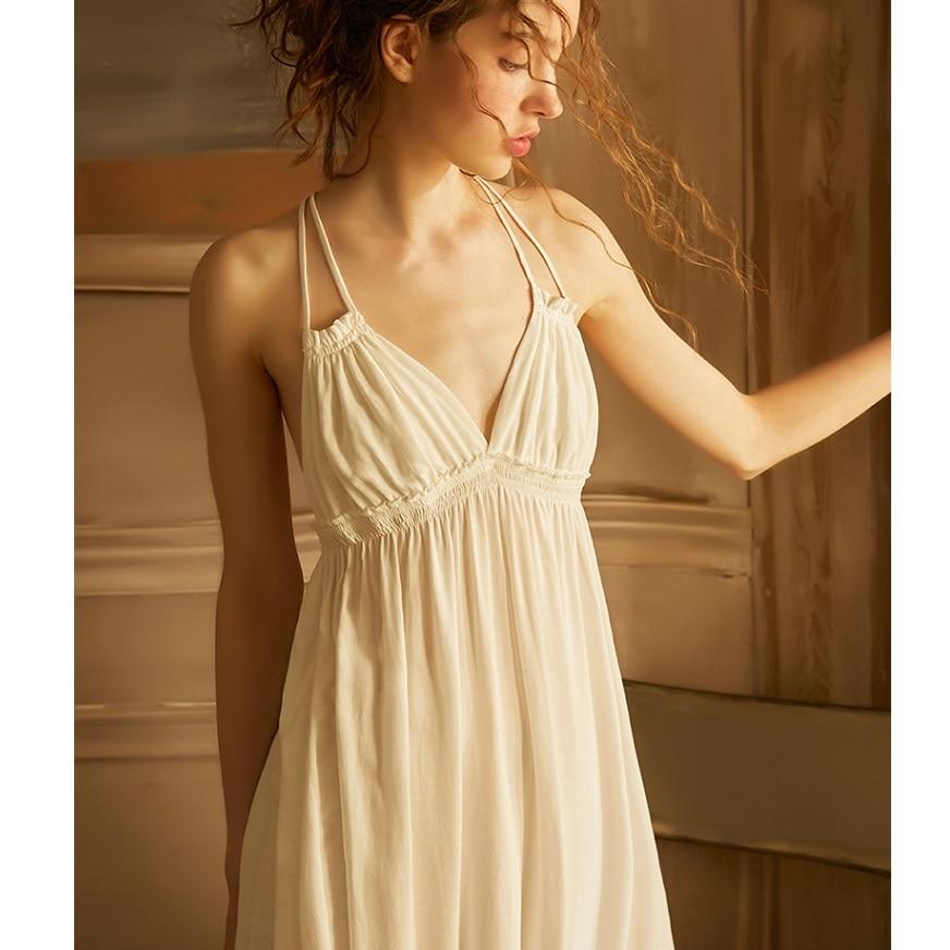Summer Vintage Viscose Sleepwear Elegant Female Princess White Cotton Nightgowns Sleeveless Sexy Lingerie