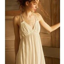 여름 빈티지 viscose 잠옷 우아한 여성 공주 화이트 코튼 잠옷 민소매 섹시한 란제리