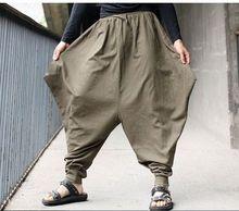 Бесплатная доставка мужчины японский самурай брюки Boho свободного покроя низкий падения промежность широкий брюки белье гарем багги хакама штаны mp11
