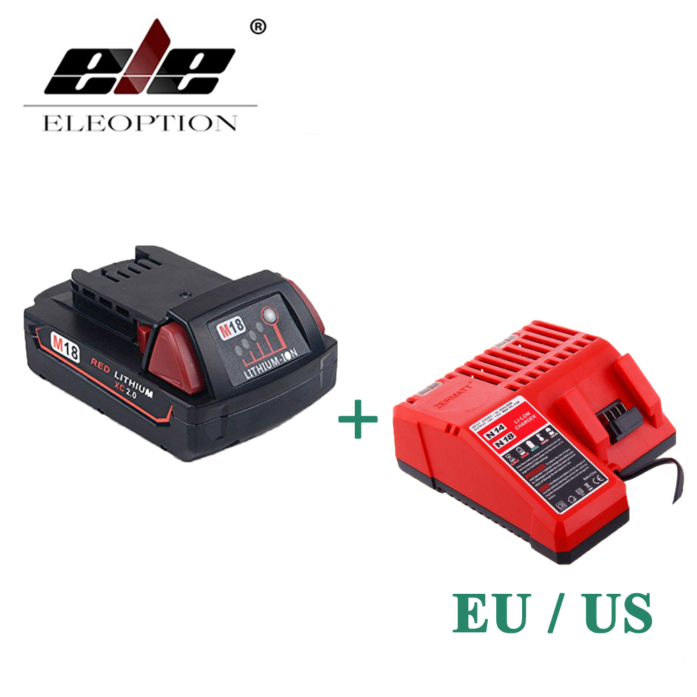 ELEOPTION 2000mAh 18V Li-Ion Replacement Battery for Milwaukee M18 XC 48-11-1820 M18B2 M18B4 M18BX With One Charger