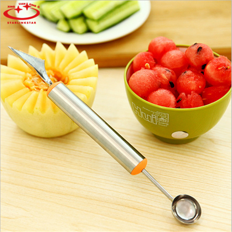 Double-End Multi Function Stainless Steel Fruit Melon Baller Carving Knife Ice C