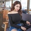 Fora Do Ombro Superior Colheita T shirt Mulheres Outono Camisas Longas T-shirts para As Mulheres Vestuário de Moda manga Curta Sólida T-shirt Magro 16346