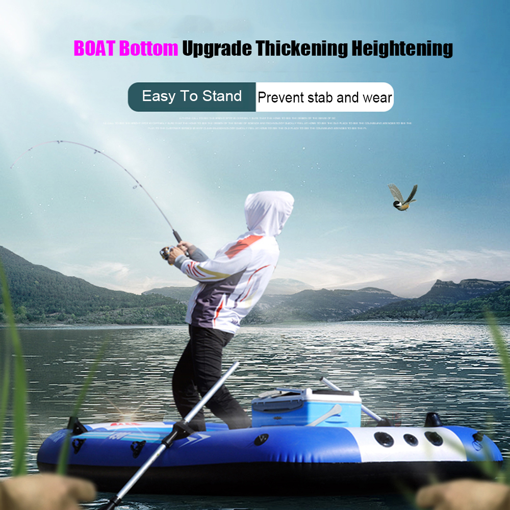 Inflatable Fishing Drifting Rescue Raft Boat Rubber Boat Kit PVC Life Jacket Two Ways Electric Pump