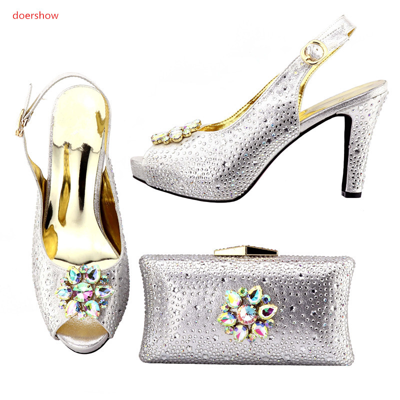 doershow African Shoes and Bag To Match High Quality Italian Shoe and Bag Set Nigerian Party Shoe and Bag Set Wedding !HMO1-2 top selling italian shoes and bag to match good quality fashionable shoes and bag set for lady doershow pme1 12