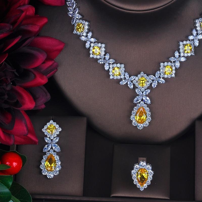 HIBRIDE Charm żółta cyrkonia zestawy biżuterii dla kobiet zestawy ślubne 4 sztuk kolczyk naszyjnik bransoletka pierścień prezent N 391 w Zestawy biżuterii od Biżuteria i akcesoria na  Grupa 2