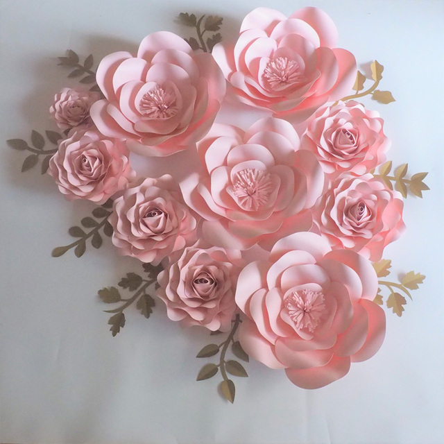 2018 baby pink rose giant paper flowers backdrop 10pcs gold leaves 2018 baby pink rose giant paper flowers backdrop 10pcs gold leaves 9pcs for wedding mightylinksfo