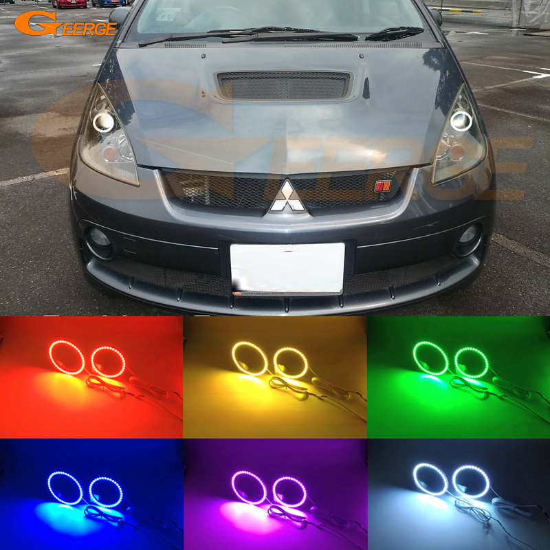 For mitsubishi colt version R 2006 2007 2008 Excellent Angel Eyes Multi-Color Ultra bright RGB LED Angel Eyes kit halo rings super bright led angel eyes for bmw x5 2000 to 2006 color shift headlight halo angel demon eyes rings kit