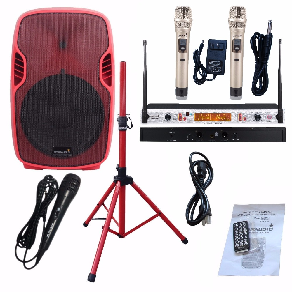 STARAUDIO PA DJ 3500W 15 Powered Active Stage Party Bluetooth Speaker with 2CH UHF Wireless IR Mics Stand Wired Mic SSRM-15