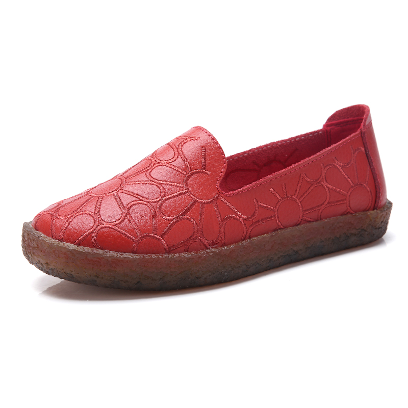 Image 2 - AARDIMI 2019 Floral Genuine Leather Casual Flats Shoes Woman Spring Autumn Espadrilles Women Mocassin Femme Zapatos Mujer-in Women's Flats from Shoes