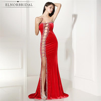 Sexy Red Mermaid Evening Dresses 2017 Robe De Soiree Strapless Split Beading Satin Imported Party Dress Formal Pageant Gowns