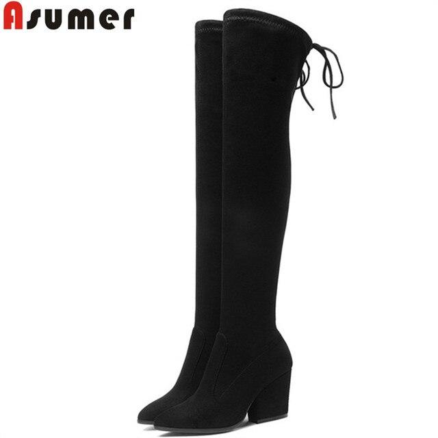 ASUMER boyutu 34-43 moda ayakkabı kadın sivri burun uyluk yüksek boots kadın süet deri yüksek topuklu balo üzerinde diz çizmeler