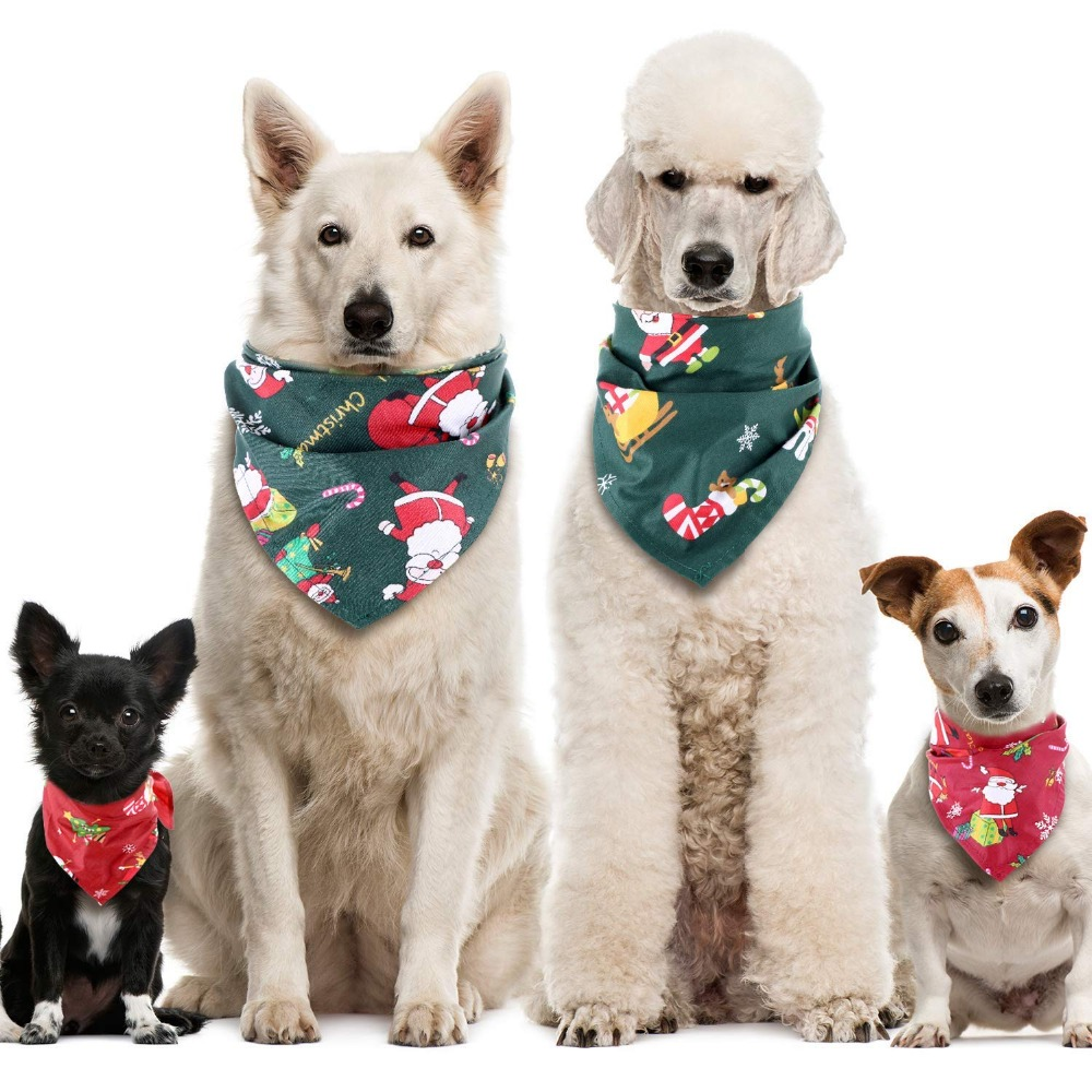 Dog Cat Bandana Christmas Pet Collar Scarf Bib Grooming Accessories Triangular Bandage Collars For Small Medium Large Dogs Cats