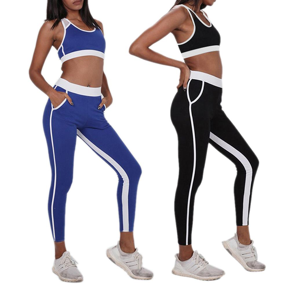 Yoga Tight Solid Color Piecing Suit Set Moisture Perspiration Resistance Yoga Suit Sports Running Sportswear Suit with Pocket