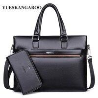 YUESKANGAROO 2018 Famous Brand Business Laptop Handbags Messenger Bags Men Leather Briefcase Male Travel Bags Men Shoulder Bags