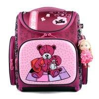 Popular Brand Delune Kids School Bags Cartoon Patch Bear Pattern Children Orthopedic Backpacks For 1-3 Grade Students Baby Girls