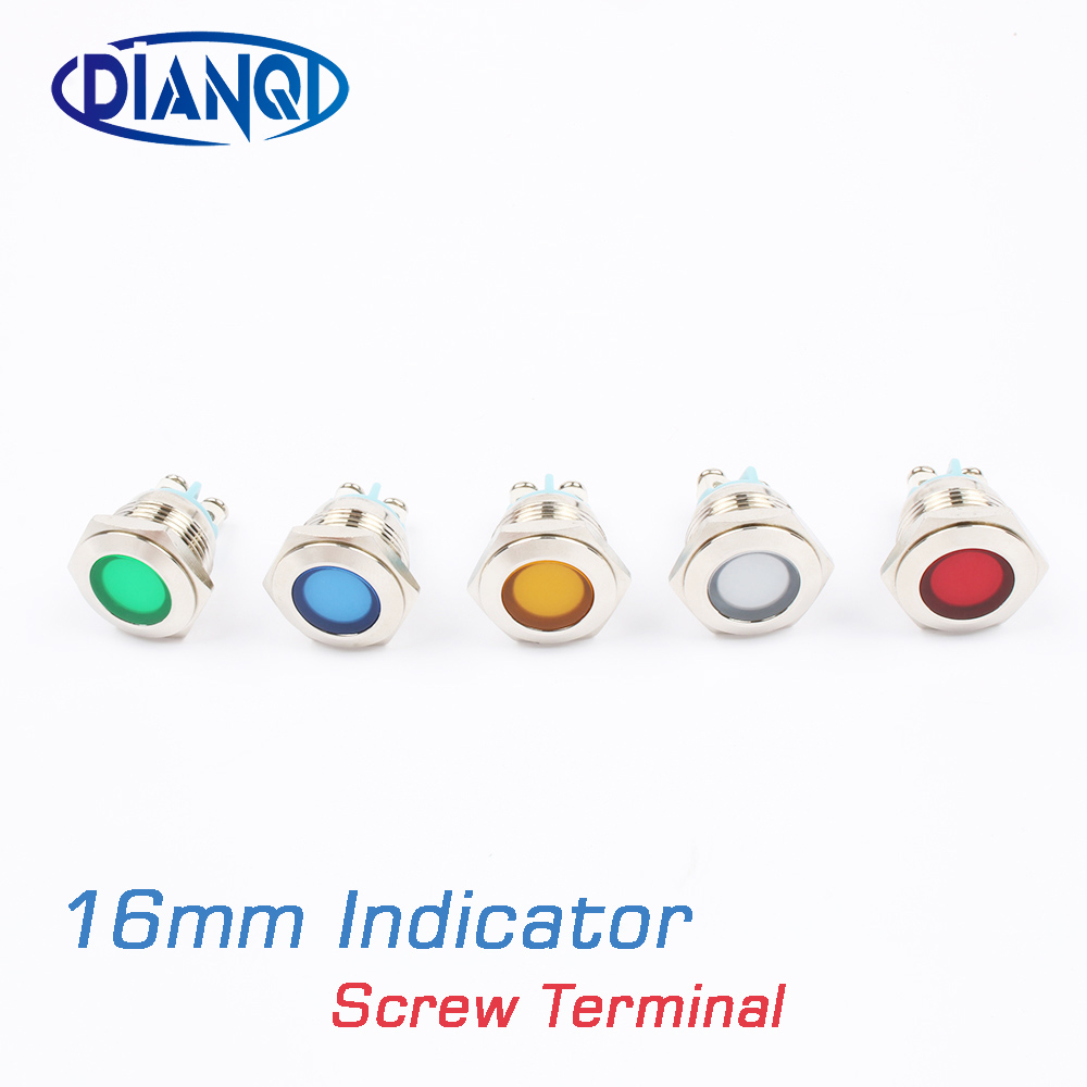 LED Metal Indicator Light 16mm Waterproof Signal Lamp Light 3V 6V 12V 24V 220v Screw Connect Red Yellow Blue White 16ZSD.DM.L