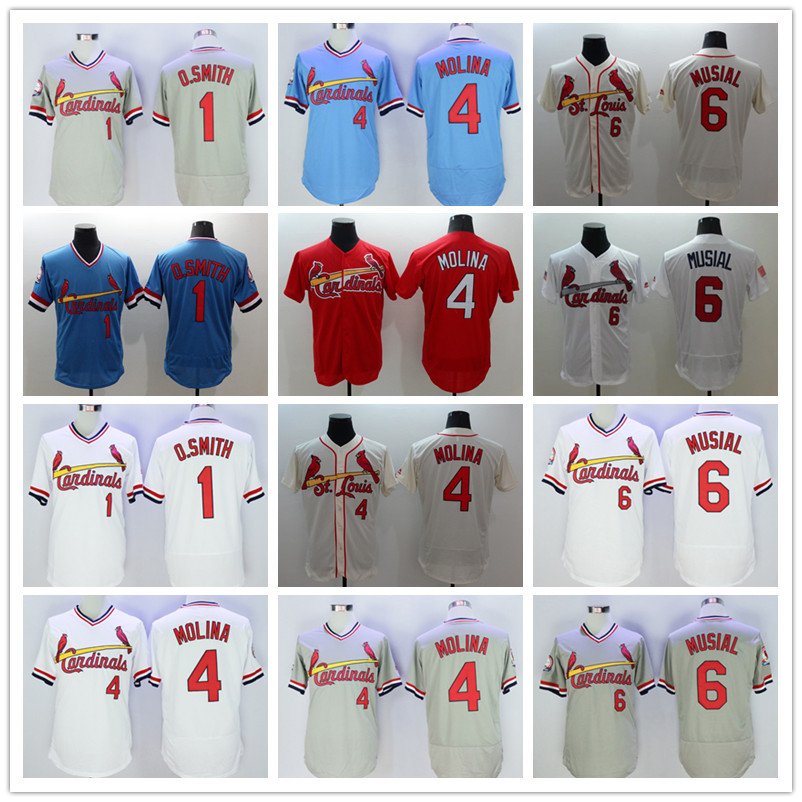 8ac47ca2a spain mens 1 ozzie smith 4 yadier molina 6 stan musial jersey white blue  gray red