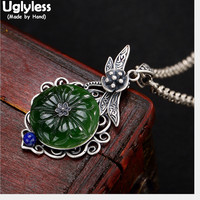 Uglyless Real Solid 925 Sterling Silver Handmade Dragonfly Pendants for Women Ethnic Natural Jade Flower Necklaces NO Chains