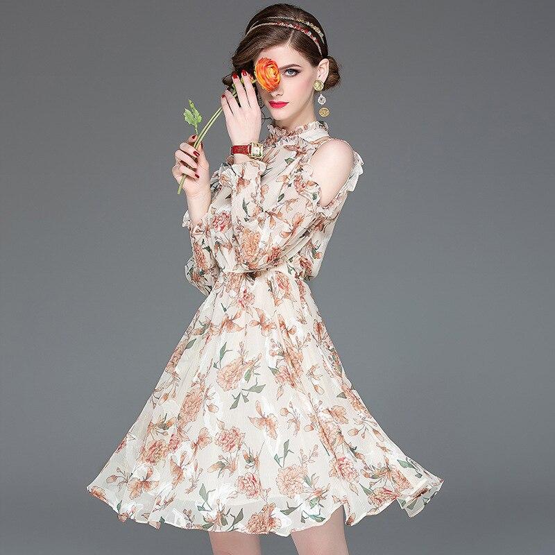 2019 haut à la mode tenue de fête Zanzea grande taille D905081 Nouveau Printemps Femme à manches longues Mi-long Européen Et Américain Robes