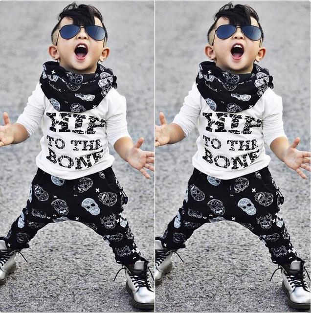 La Ropa del Bebé del Bebé Ropa de La Muchacha 2 pedazos Fijó 100% de la Largo-Manga Larga Suéter Impresión de la Letra + Cráneo pantalones de Primavera/Otoño