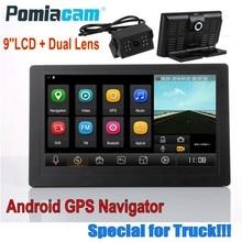 Professional 9 นิ้ว WIFI บลูทูธ Android รถบรรทุกรถบรรทุก GPS Navigator 1080 P Dual เลนส์ 35 M super long กล้องด้านหลังสาย T9