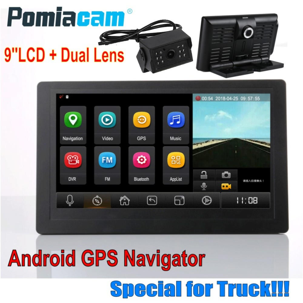 Professional 9 inch WIFI Android bluetooth Bus Truck GPS Navigator 1080P Dual Lens 35M super long Rear Camera extension cable T9