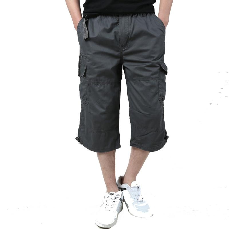 Summer Mens Baggy Multi Pocket Military Zipper Cargo Shorts breeches Male Long Army Green Khaki Mens Tactical Short Plus Size