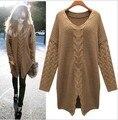 4 Colores 2015 de Invierno y Primavera de Diseño Suéter de punto Prendas de Punto Ropa de Mujer Plus Tamaño Flojo Ocasional Suéter de la Navidad