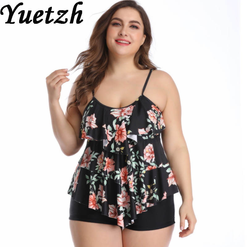 New Floral Two Pieces Swimwear Women Plug Size Swimsuit Two Piece Swim Suit Larges Size Russian Bathing Suit Beachwear Big Size
