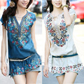 Free shipping! New Fashion casual women summer dress 2016 shirt dresses folk style embroidery female blouses dresses