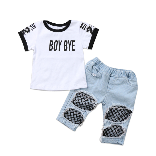 9eafaa1db8b 2Pcs Toddler Kids Baby Cute Girls T-shirt Tops Shorts Mesh Hole Denim Pants  Jeans Outfits Clothes