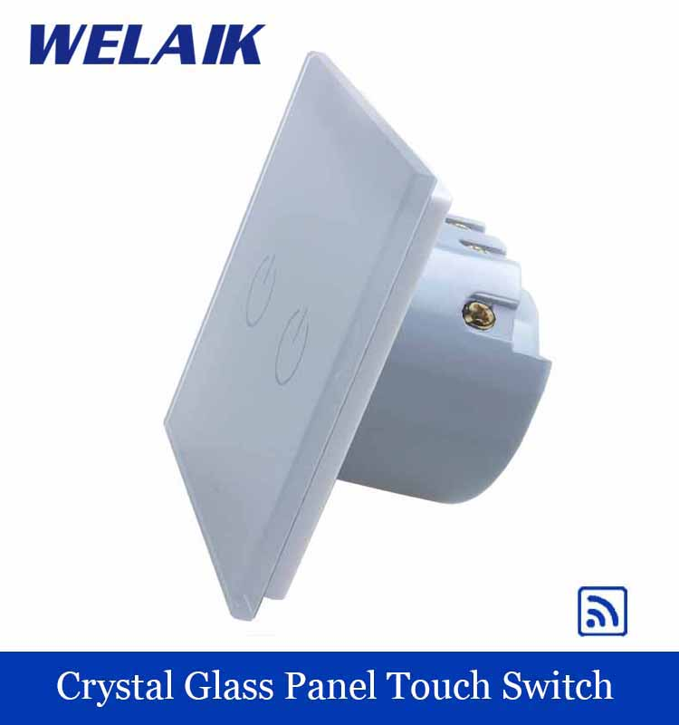 WELAIK  Glass Panel Switch White Wall Switch EU remote control Touch Switch Screen Light Switch 2gang1way AC110~250V A1923W/B white 1 gang 1 way led crystal glass panel light touch screen remote switch for light with wireless remote control 110v 220v