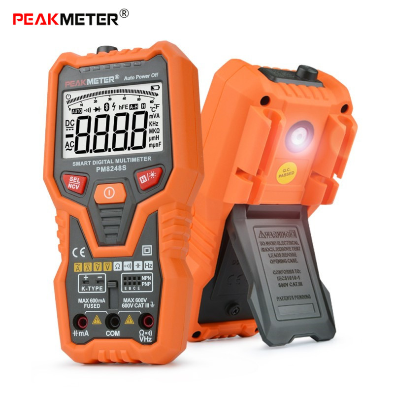 PEAKMETER PM8248S Digital Multimeter Auto Range Capacitance AC DC Current Meter Voltmeter Bargraph Transistor Temperature Tester vc99 auto range 3 6 7 digital multimeter 20a resistance capacitance meter voltmeter ammeter alligator probe thermal couple tk