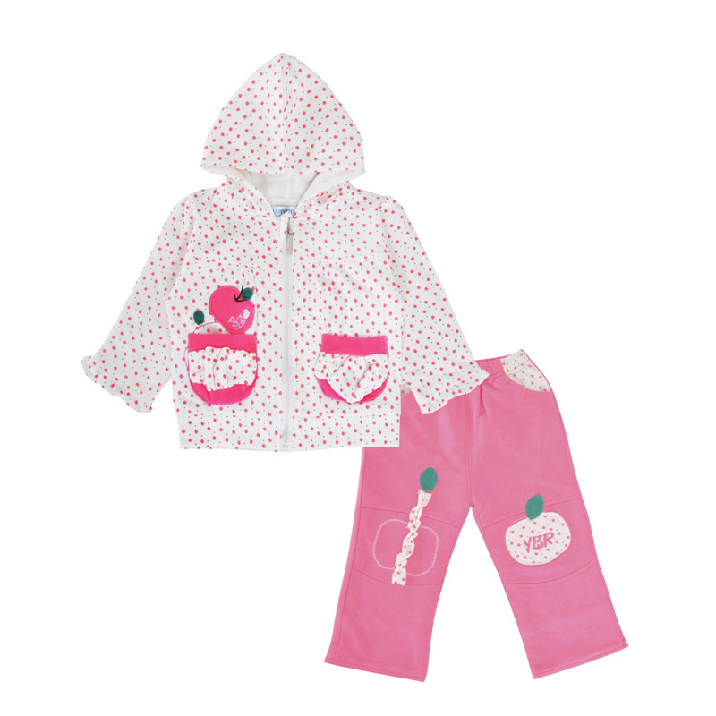 Baby Girls Clothing Set Fashion Apple Hooded Cardigan Long Sleeve T Shirt Pants 3pcs Girl Outfits Spring Children Clothing Sets 3pcs toddler baby girls children clothing sets kids girl o neck lace tops long sleeve t shirt floral pants clothes outfit set