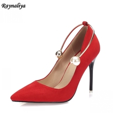 7CM New Women Ankle Fashion Genuine Leather Pumps Pointed Toe High Heels Party Shoes Elegant Women Bead Red Back Shoes XZL-A0043 5cm 7cm 9cm designer genuine leather shoes women fashion bow thin high heel party shoes sexy pointed toe pumps shoes xzl a0026