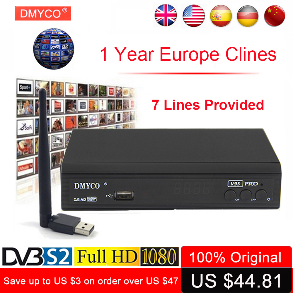 Europe Server Clines For 1 Year Spain TV Receptor V9S Pro HD DVB Decoder Poland DVB-S2 1080p LNB HD Satellite Receiver +USB Wifi 2017 high quality hd bcm7358 satellite tv receiver ex hd decoder dvb s2 256mb rom and 512mb ddr3