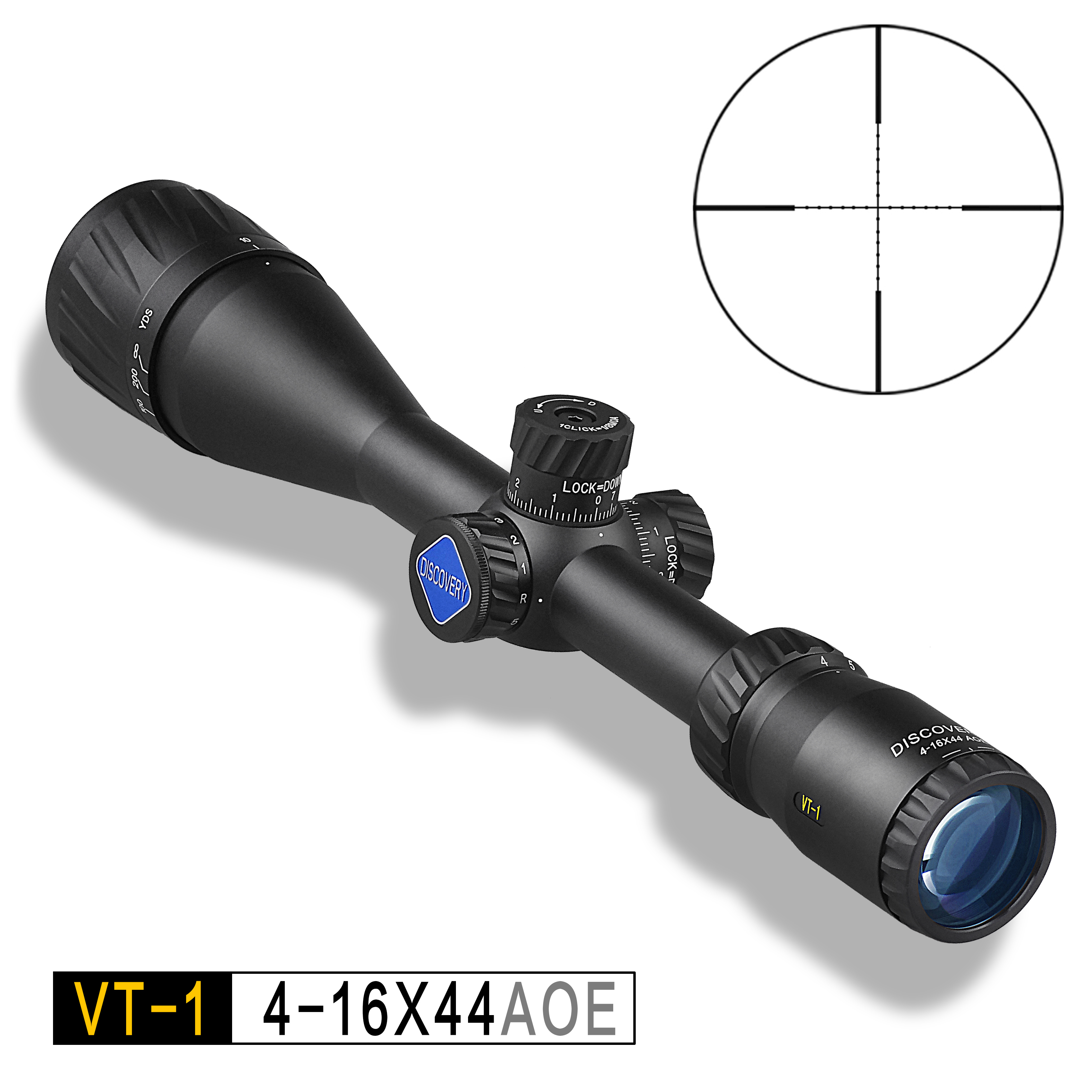 Hunting Riflescope DISCOVERY VT 1 4 16X44 AOE with Red Green Illuminated Mil Dot Reticle Night