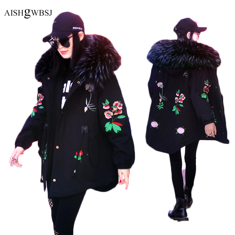 AISHGWBSJ 2017 New Women Cotton Coats Winter Embroidery Overcoats Big Collar Female Jackets Loose Hooded Flower Parkas PL174 aishgwbsj winter women jacket 2017 new hooded female cotton coats padded fur collar parkas plus size overcoats pl155