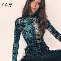 long sleeve green snakeskin grain bodycon sexy high neck bodysuits 2019 winter women street fashion body
