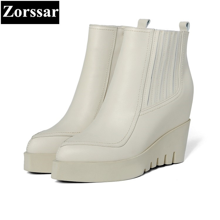 {Zorssar} 2018 NEW Genuine Leather Fashion Women shoes pointed Toe wedges ankle Martin boots High heels womens boots winter 2018 new vintage mid calf women boots square thick high heels pointed toe martin boots genuine leather winter shoes for women