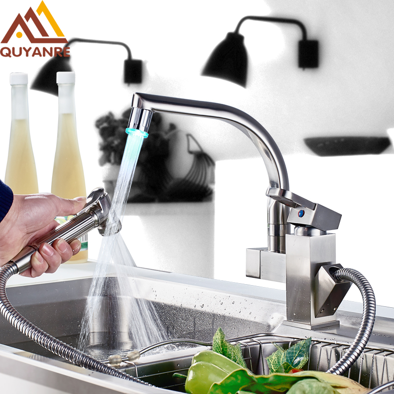 Kitchen Mixer LED Light Sink Faucet Brass Brushed Nickel Torneira Tap Kitchen Faucets Hot Cold Deck