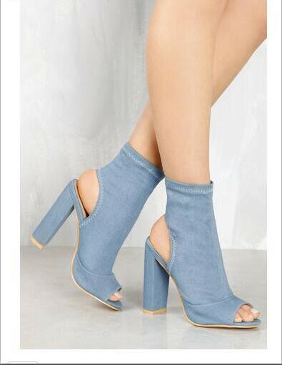 Women ankle boots Summer boots peep toe chunky heel rear cutout slingbacks 11 cm height heels blue denim Black Denim and Mauve faux suede ruffle chunky heels mauve