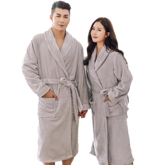 Winter Flannel Couple Bathrobes Thick Warm Kimono Long Bath Robe Bridal  Wedding Bridesmaid Robes Dressing Gowns 75503c608