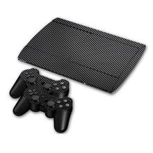 Autocollant de peau de vinyle de fiber de carbone pour Sony PS3 Super mince 4000 Console et 2 peaux de contrôleur de manette