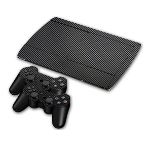 Image 1 - Carbon Fibre Vinyl Skin Sticker For Sony PS3 Super Slim 4000 Console and 2 Gamepad Controller Skins Cover Controle Skin