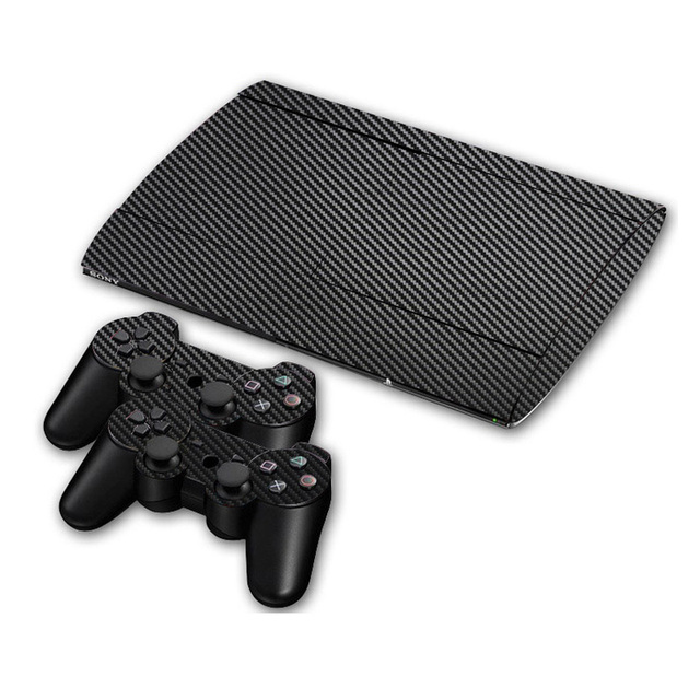 Carbon Fibre Vinyl Skin Sticker For Sony PS3 Super Slim 4000 Console and 2 Gamepad Controller Skins Cover Controle Skin