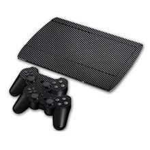 Fibra de carbono adesivo de pele de vinil para sony ps3 super fino 4000 console e 2 gamepad controlador skins capa pele controle
