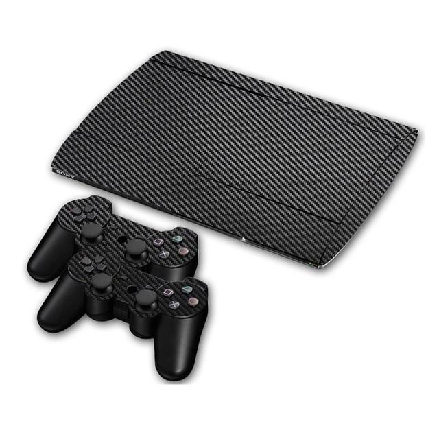 カーボンファイバービニールソニー PS3 スーパースリム 4000 コンソールと 2 ゲームパッドコントローラスキンカバー controle スキン