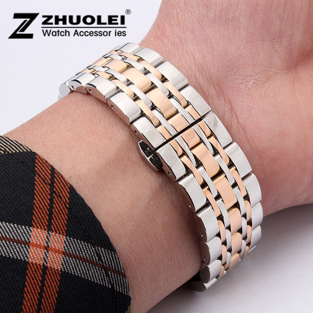 Watch Band 22mm New High Quality Silver With Rose Gold Stainless Steel Deployment Watchbands Strap Bracelets