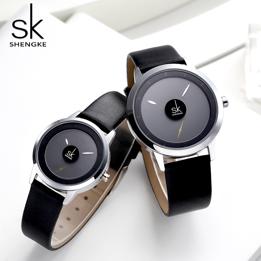 Shengke New Creative Couple Watches Elegant Casual Ladies Lovers Quartz Clock Waterproof Leather Strap Wristwatch Relojes Mujer